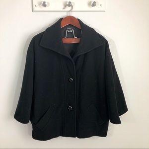 Zara Black Basic Wool Cape Peacoat Coat Large L